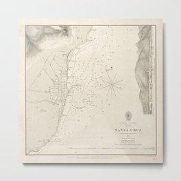 Vintage Santa Cruz de Tenerife Canary Islands Map (1856) Metal Print