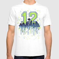 Hawks 12th Man Fan Art Seattle Space Needle LARGE Mens Fitted Tee White