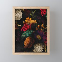 Midnight Hours Dark Vintage Flowers Garden Framed Mini Art Print