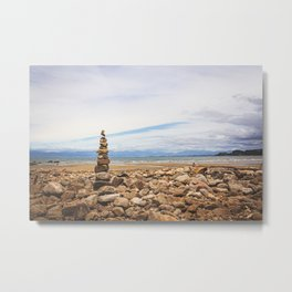 Coastal Cairn- New Zealand Metal Print