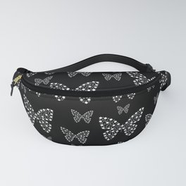 Black and White Butterflies Flowers Pattern Fanny Pack