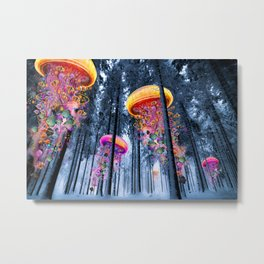 Winter Forest of Electric Jellyfish Worlds Metal Print