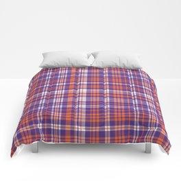 Varsity plaid purple orange and white clemson sports college football universities Comforters