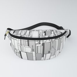Tall city B&W / Lineart city pattern Fanny Pack