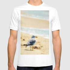 Lonely gull of summer. Mens Fitted Tee MEDIUM White