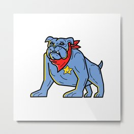 Sheriff Bulldog Standing Guard Mono Line Art Metal Print
