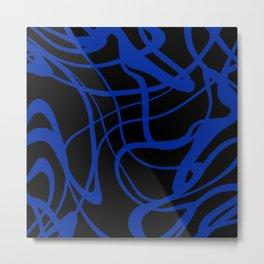 Blue lines on black background Metal Print