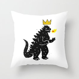 Jean-Michel Basquiat's Crown on Japanese Monster Throw Pillow