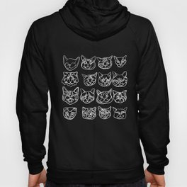 Blue and White Silly Kitty Faces Hoody