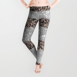 White Marble Rose Gold Glitter Stripe Glam #2 #minimal #decor #art #society6 Leggings