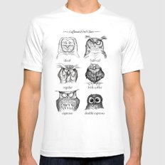 Caffeinated Owls White MEDIUM Mens Fitted Tee