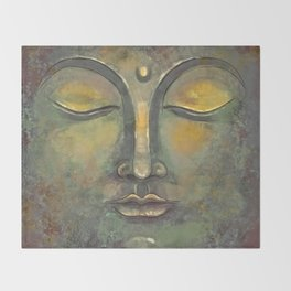 Rusty Golden Buddha Face - Zen and Balance Watercolor Painting Throw Blanket