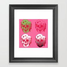 4 Marilyn Skullfaces In Pink Framed Art Print