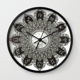 Astrology Signs Mandala Wall Clock