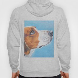 A realistic American Foxhound portrait by L.A.Shepard fine art painting Hoody
