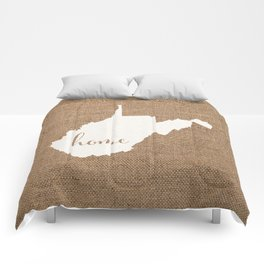 West Virginia is Home - White on Burlap Comforters