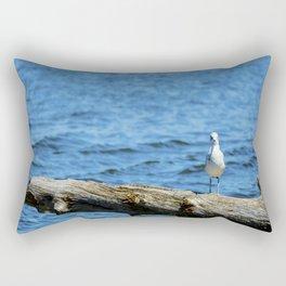 Seagull on Driftwood Rectangular Pillow