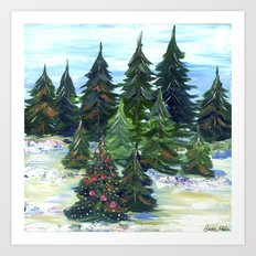 Field of Christmas Trees Art Print