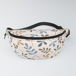 Assorted Leaf Silhouettes Blues Brown Gold Cream Fanny Pack
