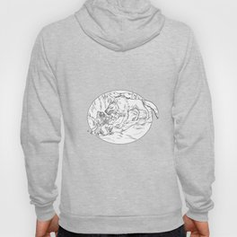 Fenrir Attacking Norse God Odin Drawing Black and White Hoody