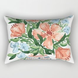 Peachy Florals Rectangular Pillow