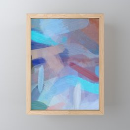 brush painting texture abstract background in blue brown Framed Mini Art Print