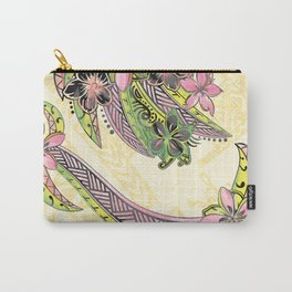 Polynesian Hand Drawn Floral Watercolor Threads Carry-All Pouch