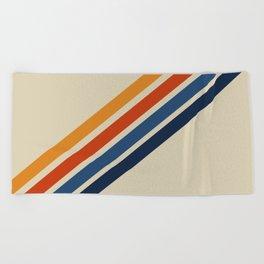 Rainbow 70s 60s Stripe Colorful Rainbow Tan Retro Vintage Beach Towel