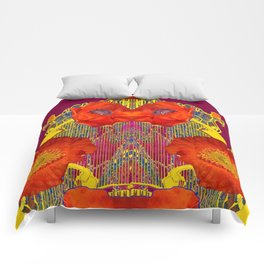 Modern Art Nouveau Orange-Burgundy  Poppy Flowers Comforters