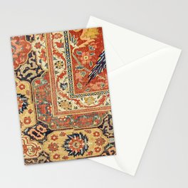 Indian Trellis II // 17th Century Ornate Medallion Red Blue Green Flowers Leaf Colorful Rug Pattern Stationery Cards