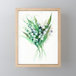 Lilies of the Valley. spring flowers, green white floral art Framed Mini Art Print