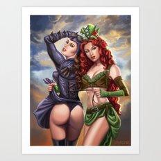 Steampunk Poison Ivy and Batgirl Art Print