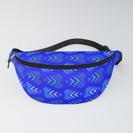 Pattern of intersecting hearts and stripes on a blue background. Fanny Pack