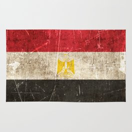 Vintage Aged and Scratched Egyptian Flag Rug