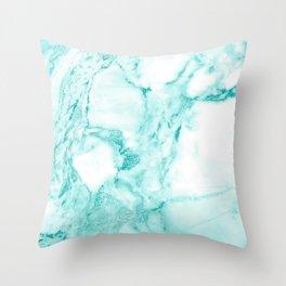 Teal Mermaid Glitter Marble Throw Pillow