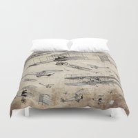 airplanes Duvet Covers featuring airplanes4 by Кaterina Кalinich