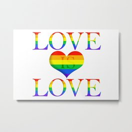 Love is Love Minimalist Pride Art With Heart Metal Print
