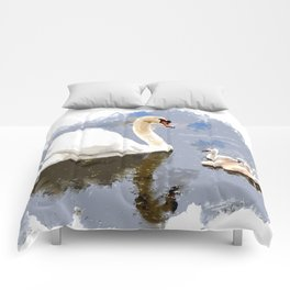 Swan and Cygnets on the Pond Comforters