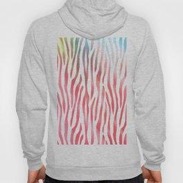 Abstract pink coral teal aqua watercolor zebra pattern Hoody