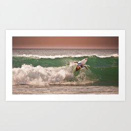 Jeremy Flores, Surfing during world tour of surf Art Print