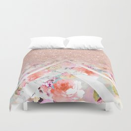 Modern rose gold glitter ombre floral watercolor white marble triangles Duvet Cover