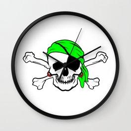 Halloween Pirate Skull Crossbones Bandana Eyepatch Wall Clock