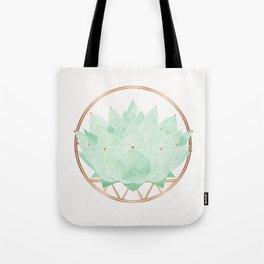 Green Succulent Watercolor Tote Bag