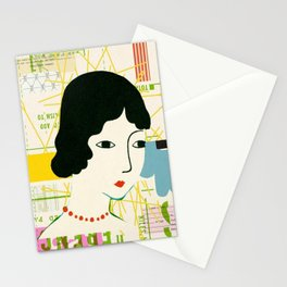 COLLAGE ILLUSTRATION OF WOMAN WITH PATTERNS IN BACKGROUND Stationery Cards