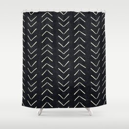 Mudcloth Big Arrows in Black and White Shower Curtain