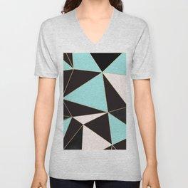 Elegant pink teal black abstract geometrical Unisex V-Neck