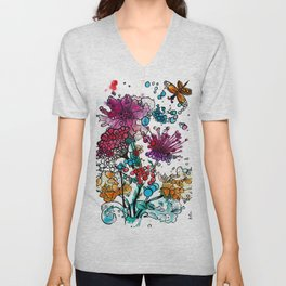 Floral watercolor abstraction Unisex V-Neck