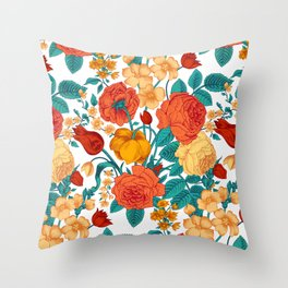 Vintage flower garden Throw Pillow