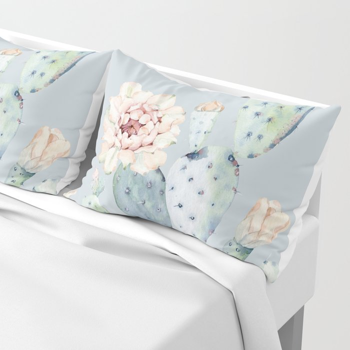 Prettiest Rose Cactus Blue Pillow Sham