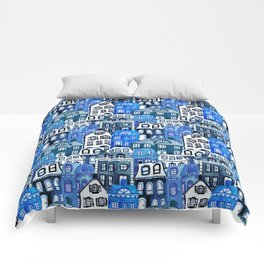 Mansard Village in Blue Watercolor Comforters